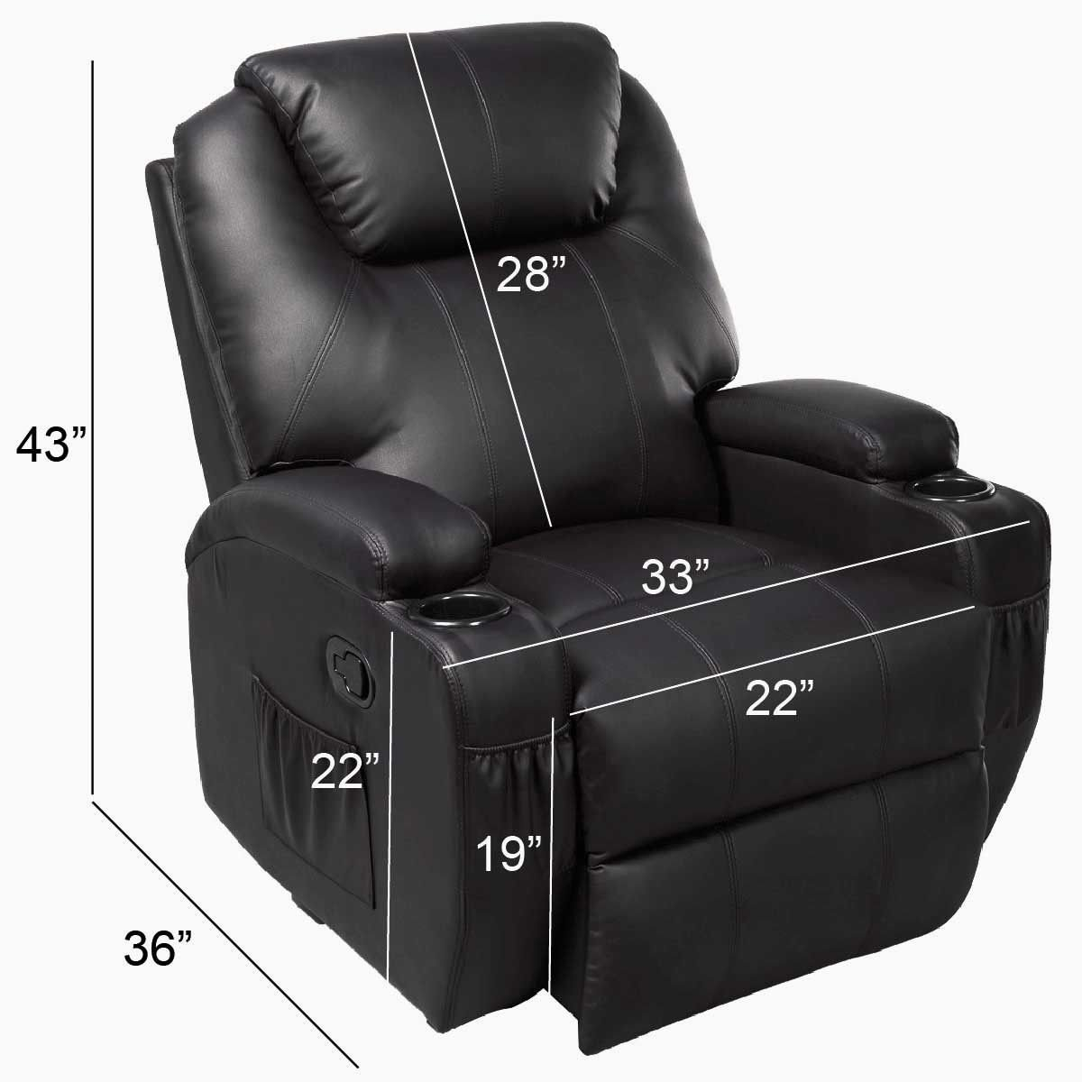 Amazon.com GHP Black Sturdy Ergonomic Seating Massage Recliner Sofa Chair Lounge Heated w Control Kitchen u0026 Dining  sc 1 st  Amazon.com & Amazon.com: GHP Black Sturdy Ergonomic Seating Massage Recliner ... islam-shia.org