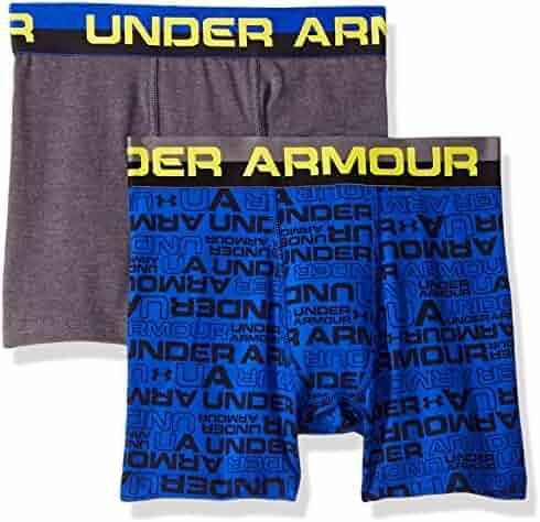 Under Armour Boys 2 Pack Solid Cotton Boxer Briefs