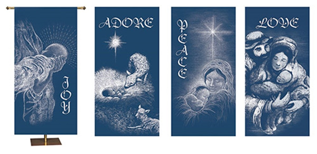 Joy Adore Peace and Love Digitally Printed Canvas Christmas Banner Set of 4, 60 Inch