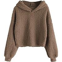 DEZZAL Women's Fuzzy Faux Fur Oversized Pullover Crop Hoodie Sweatshirt