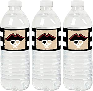 Beware of Pirates - Pirate Birthday Party Water Bottle Sticker Labels - Set of 20