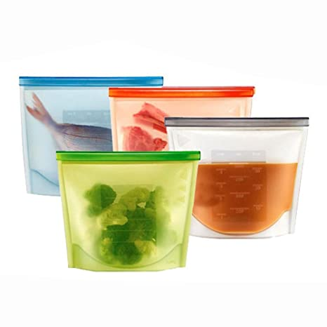 OFKPO 4pcs Silicona Reutilizable Alimentos Bolsa de Almacenamiento ...