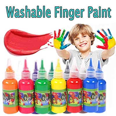 12 Color Simply Washable Paints, Finger Paint For Toddlers, Non Toxic, Vibrant, Bold, Craft, Hobby, Fun, Art Supplies, 2.03oz/60ml Plastic Squeeze Bottles for Arts, Crafts and Posters (Orange): Office Products
