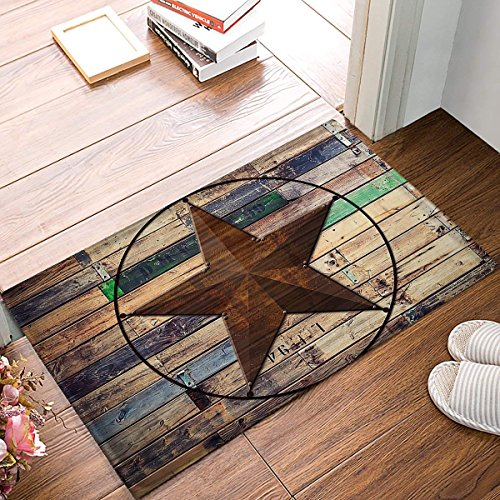 Rustic Vintage Texas Star Barn Wooden Doormat Door Mat Rug Outdoor/Indoor,for Home/Office/Bedroom