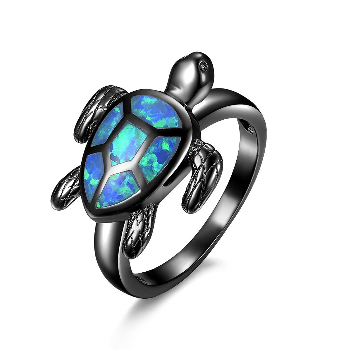 Trendy Statement Black Gold Filled Opal Lovely Tortoise Ring for Women Size 5-11 (9)