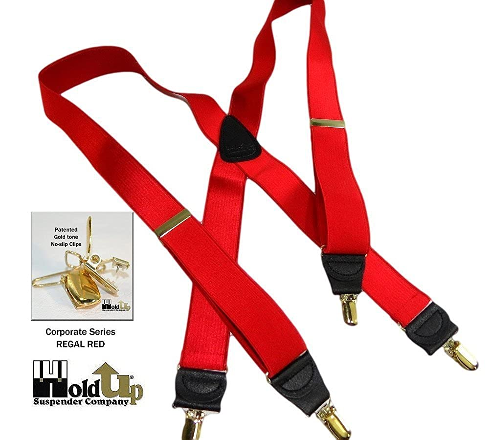 Hold-Ups Regal Red 1 1//2 Wide Satin Finish X-back with No-slip Gold Clips
