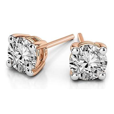 Amazon.com: Pendientes de diamante solitario 100% puro, con ...