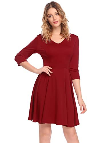 ELESOL Women's Casual V Neck Plain A Line Mini Cocktail Party Dress Wine Red S