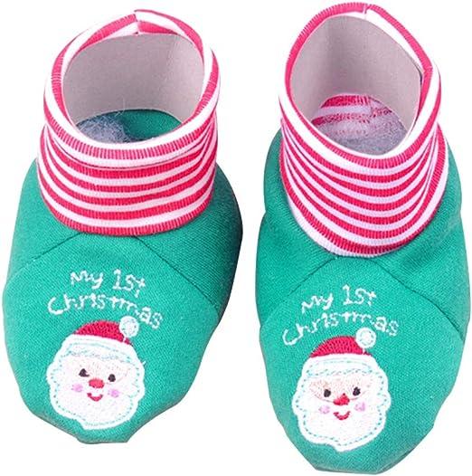 STOBOK Bebé Navidad Botines Zapatos Algodón Suave Bordado Papá Noel Mi 1ra Navidad Invierno Cálido Botas Infantiles ...