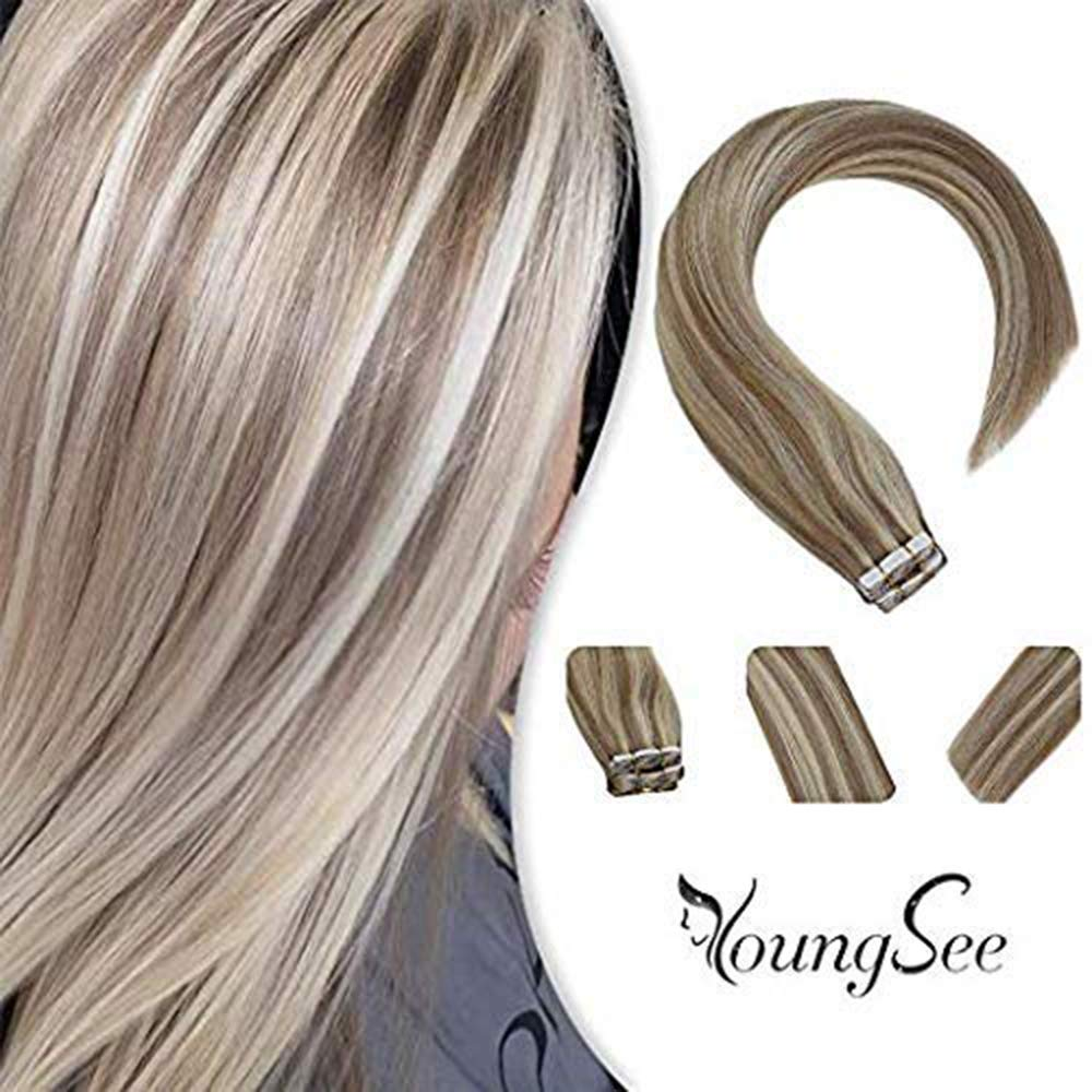 Youngsee 24inches 100% Real Tape in Hair Extensions Human Hair Blonde Highlight Ash Blonde Mixed with Bleach Blonde Human Hair Tape in Remy Hair Extensions 20pc/50g Weight by YoungSee