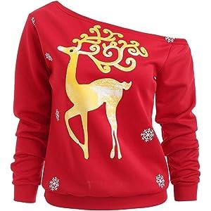 Blusa navideña Mujer Invierno, Moda Mujer Feliz Navidad Papá Noel Imprimir Skew Collar