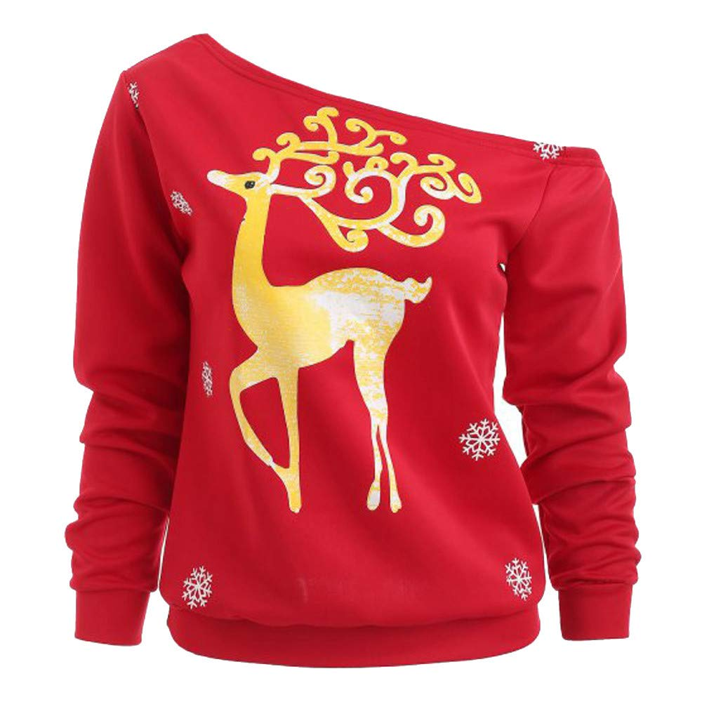 Zackate Womens Christmas Sweater Long Sleeve Xmas Sweatshirt Printed Pullover Tops Blouse at Amazon Womens Clothing store: