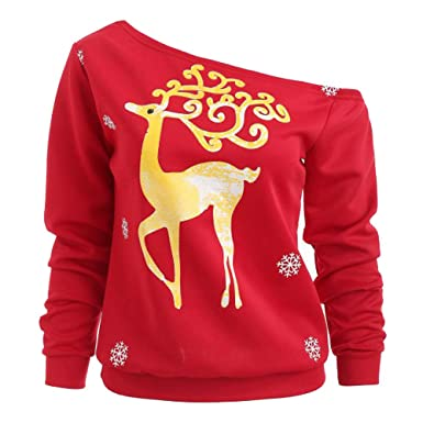 Clearance Forthery Christmas Ugly Sweatshirt Snowflake Off Shoulder Pullover Tops(Red , Small)