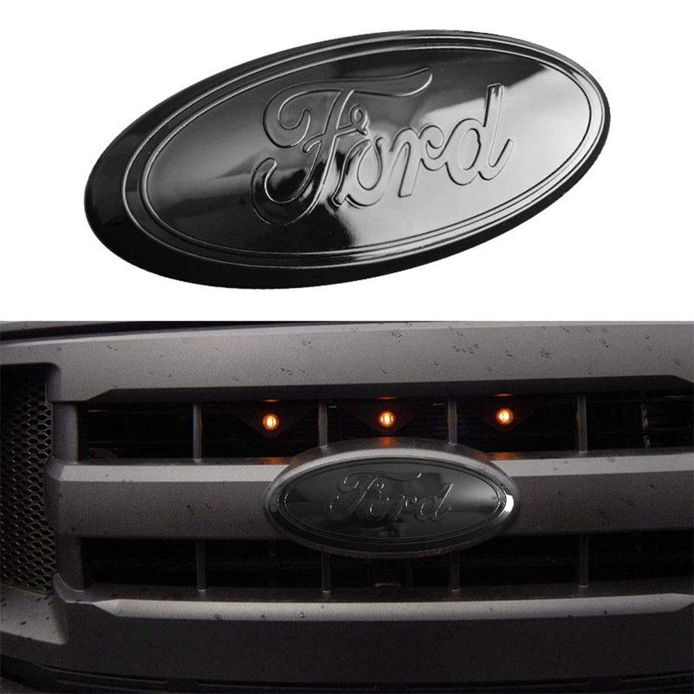 Oval 9X3.5 2004-2014 F150 FORD Front Grille Tailgate Emblem 11-16 Explorer 11-14 Edge 06-11 Ranger ALL Black Decal Badge Nameplate Also Fits for FORD F250 F350