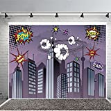 Superhero Cityscape Photography Backdrop, Great as Super Hero City Photo Booth Background – Birthday Party and Event Decorations