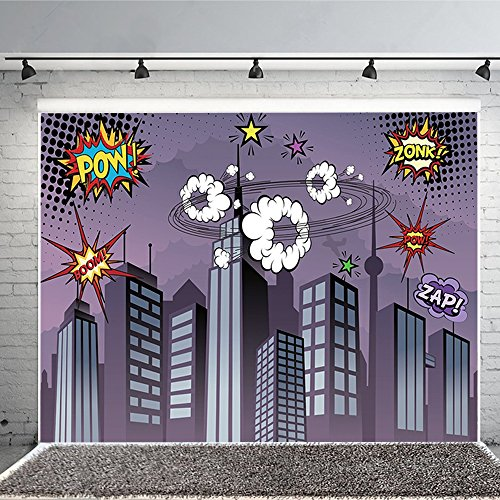 Superhero Cityscape Photography Backdrop, Great as Super Hero City Photo Booth Background – Birthday Party and Event (Event City Halloween)