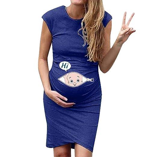 d38ca19e482 Koolee Women s Summer Cap Sleeve Maternity Dress Cartoon Funny Knee Length  Pregnancy Short Bodycon Dress Blue