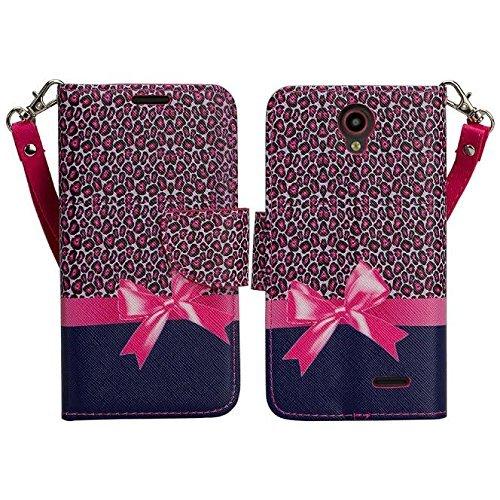 (Wydan Avid Trio Case, Maven 2 Case, Sonata 3, Prestige, Avid Plus, Chapel Case - Leather Wallet Case Flower Flip Foldable Kickstand Credit Card Cover - Ribbon for ZTE)