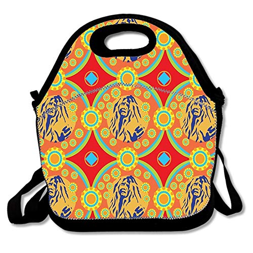 Janis Joplin Insulated Neoprene Lunch Bag Tote for Adults Kids,Lunchbox Food Container Tote For School Work Office