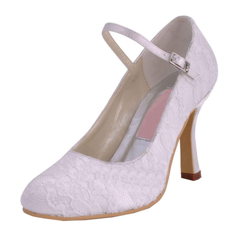 HhGold Frauen MZ577 Karree High Heel Mary Jane Schnalle Weiße Spitze Braut Hochzeit Schuhe Pumps UK 9 (Farbe   -, Größe   -)