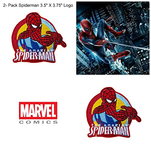 (2- Pack) Marvel Comics The Amazing Spiderman Logo Iron/Sew-On Embroidered 3.5