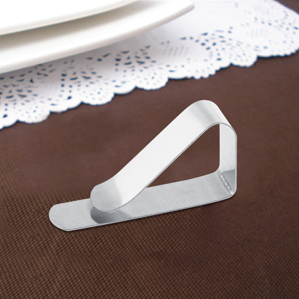 GLOGLOW Picnic Table Clips Stainless Steel Table Cloth Cover Clamps Holders Anti-wind Adjustable Metal Tablecloth Clips Ideal for Outdoor Picnics Marquees Weddings Banquet Camping by GLOGLOW (Image #5)