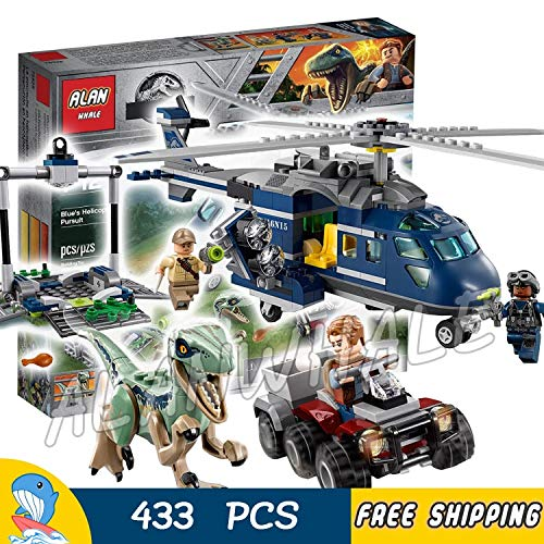 AlanWhale 433Pcs Jurassic World Blue's Helicopter Pursuit Bike Velociraptor Model Building Blocks Dinosaur Toy Bricks Compatible with Lego Toy Kid Child Gift- No Original Box Included