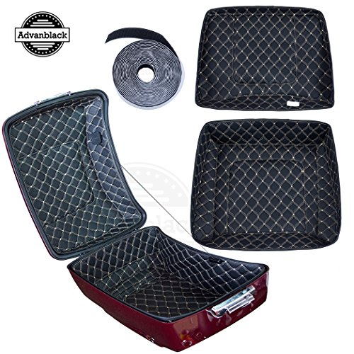 Us Stock King Tour Pack Liner Fit for Harley/Advanblack King Tour Pak(Beige Thread Stitching, Synthetic Leather, 1 Set) (Leather Tour Pack)