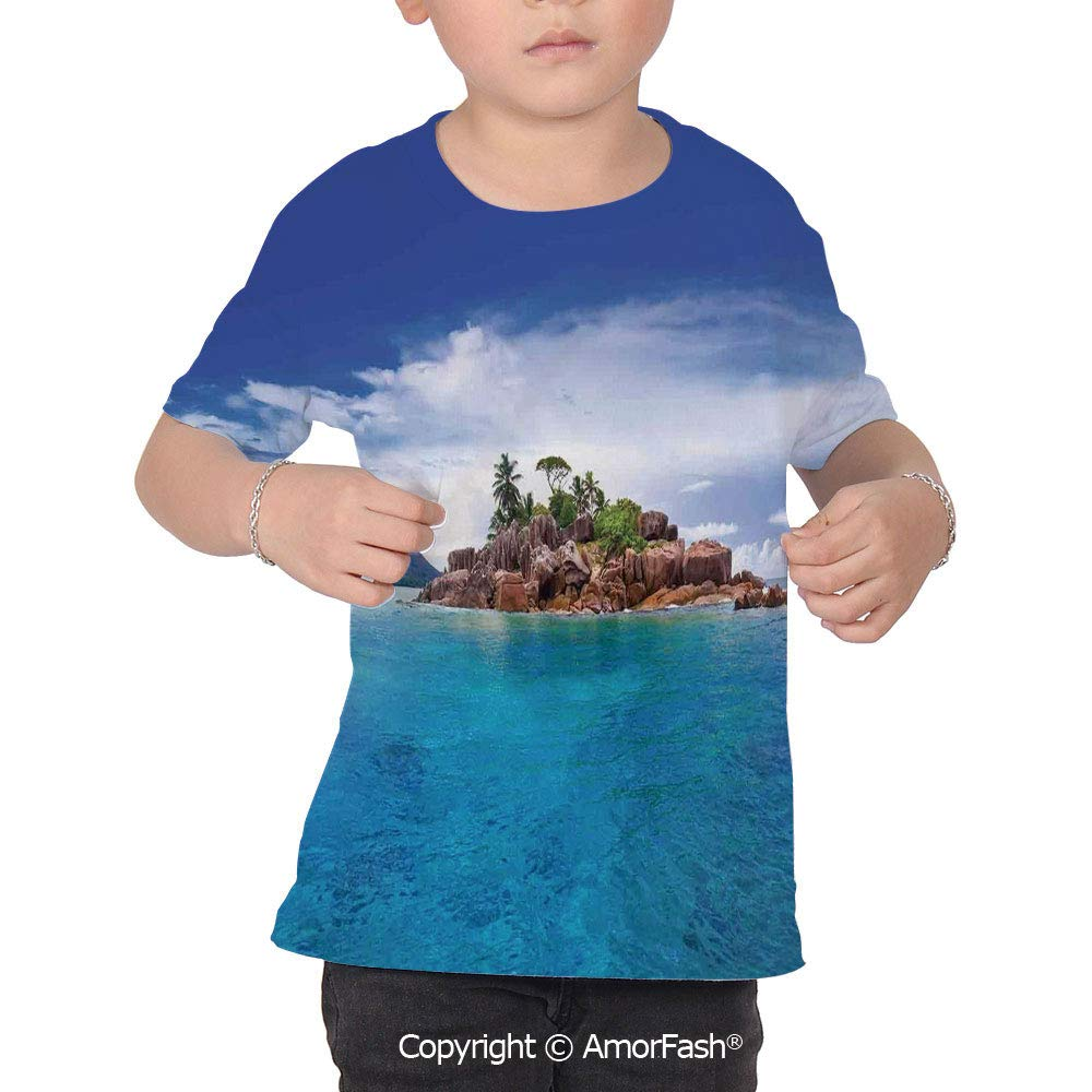 Island Colorful Boys and Girls Soft Short Sleeve T-Shirt,Island at Seychelles Co
