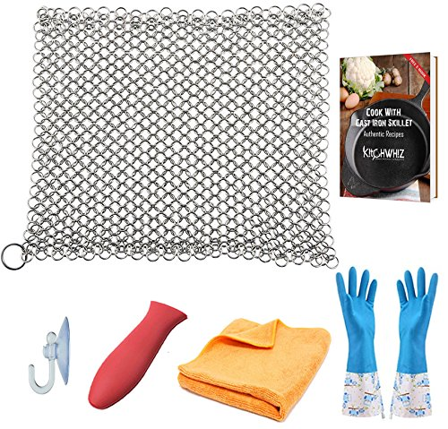 KitchWhiz (6 in One + e Book)- Cast Iron Cleaner Large, Premium Stainless Steel Chainmail Scrubber With Bonus Iron Skillet Handle Holder + rubber gloves kitchen pair + Kitchen Towel + Drying Hook