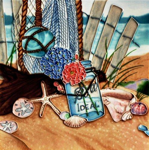 "Wish Jar at the Beach - Decorative Ceramic Art Tile - 8""x8"" En Vogue"