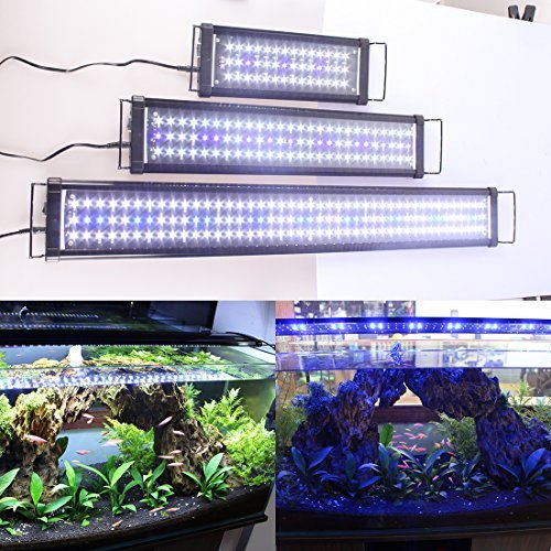 "Zeiger Eco Aquarium Hood Led Lighting Fish Tank Light, White and Blue Adjustable 48'' - 60"" 120cm -150cm"
