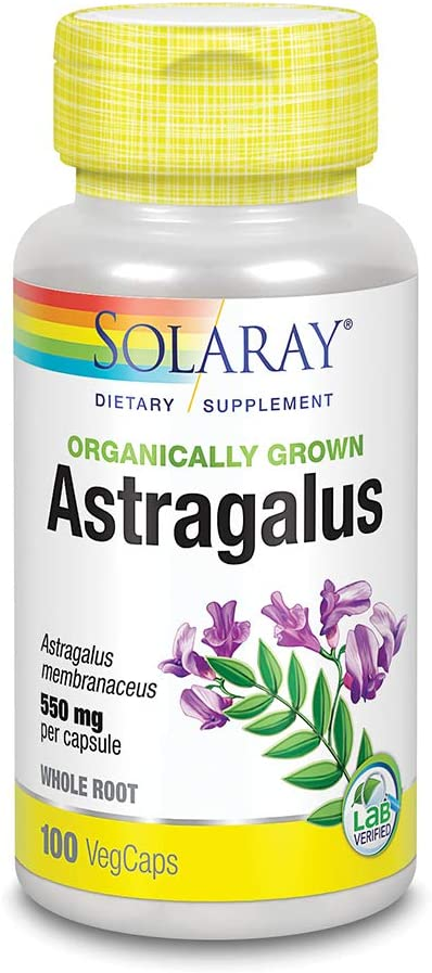 Solaray Organically Grown Astragalus Root 550mg | Healthy Immune Function & Stress Support | Adaptogen Herb | Non-GMO & Vegan | 100 VegCaps