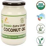 Umanac Organic ColdPressedRaw Extra Virgin Coconut Oil, 500ml Glass Bottle