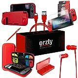 Orzly Switch 配件包,红色 Orzly 任天堂切换控制台手提箱,钢化玻璃屏幕保护膜,USB 充电线,切换游戏套,舒适握力保护套,耳机红色