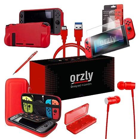 ORZLY® Ultimate Pack Accesorios para Nintendo Switch [Incluye: Protectores de Pantalla, Cable USB, Funda para Consola, Estuche Tarjetas de Juego, ...