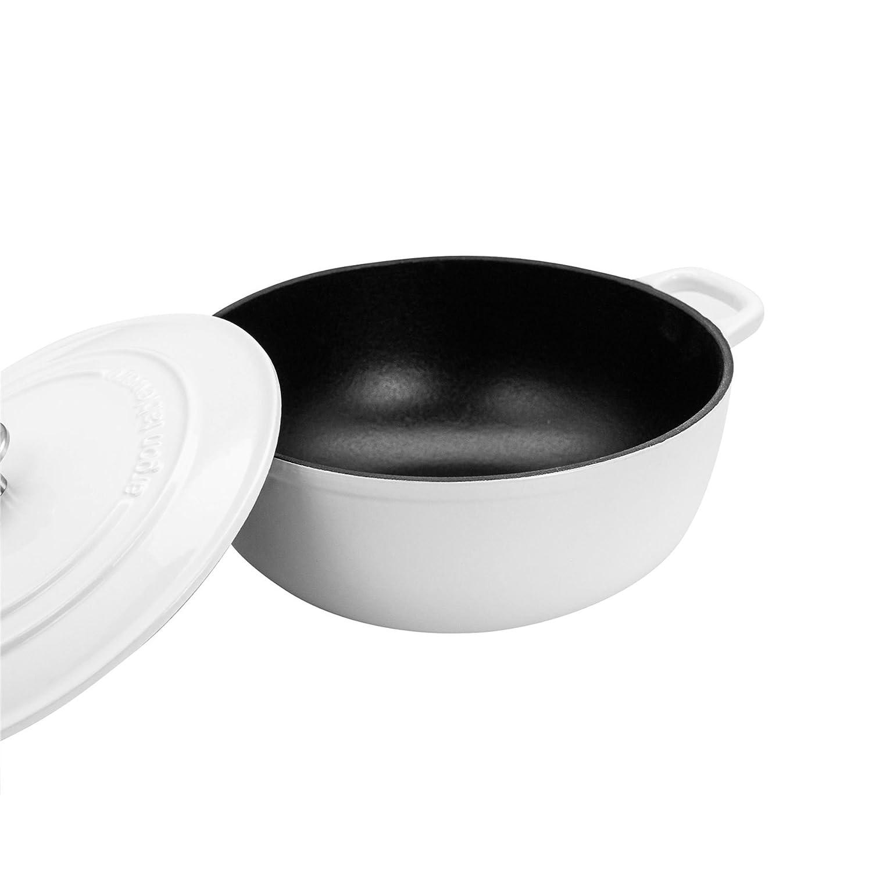 Blanc 3,5 L pour Le Four Argon Tableware Cocotte en Fonte /émaill/ée Rond