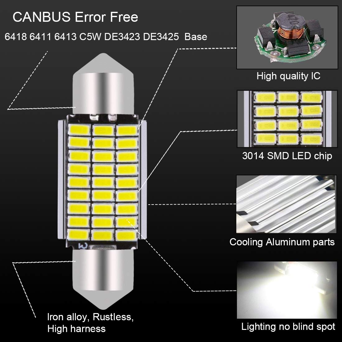AJUMKER 36mm LED Bulb 1.42in C5W 6500K Xenon White 12V Extremely Bright 3014 Chipsets CanBus Error Free 6418 6411 6413 DE3423 DE3425 LED Festoon Car Interior Dome Map License Plate Lights Pack of 4