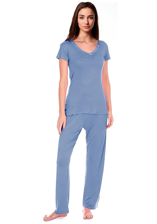 Mujer Lazo Cómodo PJ Pyjama Set Viscosa Pijama pijama mujer Ropa De Descanso: Amazon.es: Ropa y accesorios