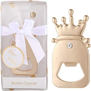 16 pcs Bottle Opener Baby Shower Favors Baby Bottle Shaped Wedding Party Souvenirs for Guests Cute Party Supplies Decoration Gift for Boy Girl Birthday with Individual Gift Box (Gold Bottle, 16)