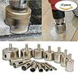 Diamond Drill Bits - Glass and Tile Hollow Core Drill Bits Extractor Remover Tools Hole Saws for Glass Ceramics Porcelain Marble and Tile, Pack of 15