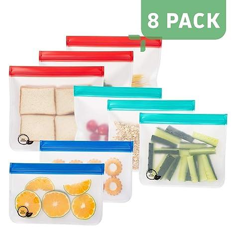 Amazon.com: Bolsas de sándwich reutilizables extra gruesas y ...