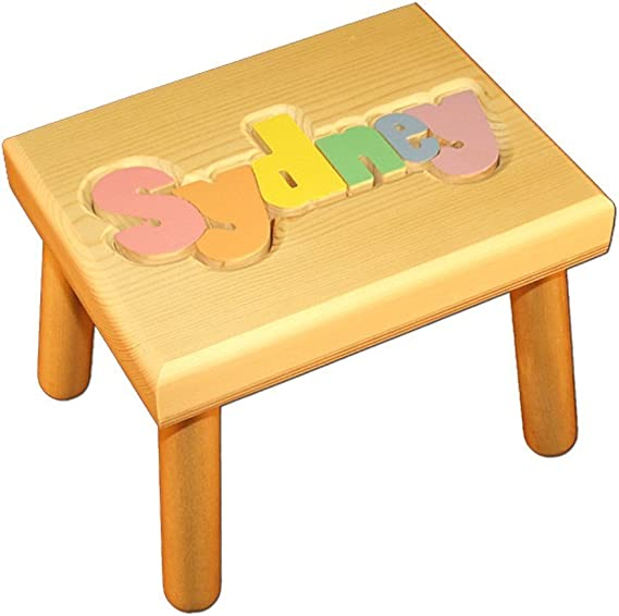 Personalized wooden bench,Name Puzzle Stool Bench,Birthday Gift,Wood,Personalized Puzzle,Kids Stool or Bench,free engraving message