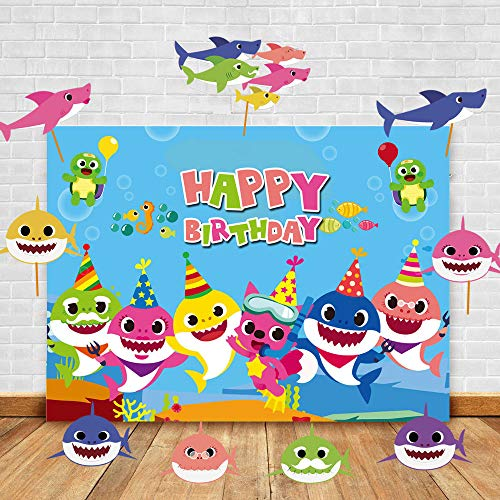 (Art Studio Baby Shark Family Theme Photography Backdrops and Studio Props DIY Kit.Baby Shark Cartoon Animals Theme Photo Booth Children Happy Birthday Party Decoration Photo)