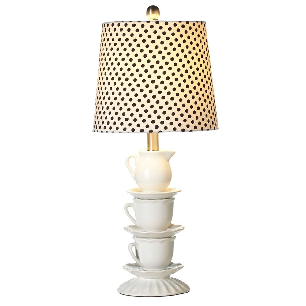 Charmingly Stacked Ceramic Teacup Lamp and Shade Set, Set of 2, 24-inch by Red Co. (Image #1)