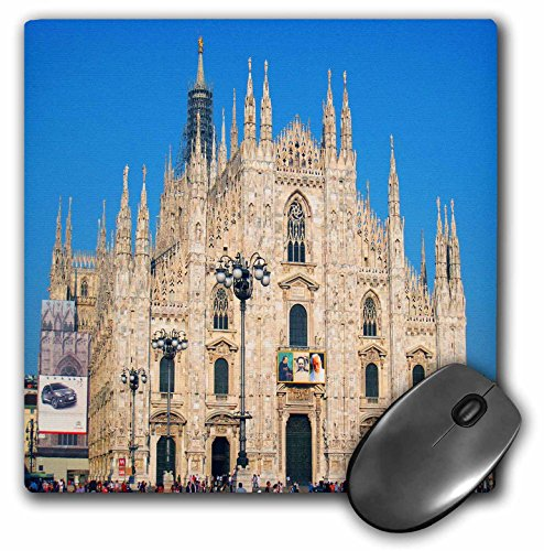 3dRose LLC 8 x 8 x 0.25 Inches Mouse Pad, Milan, Italy Duomo Church, Blue Sky (mp_66296_1)