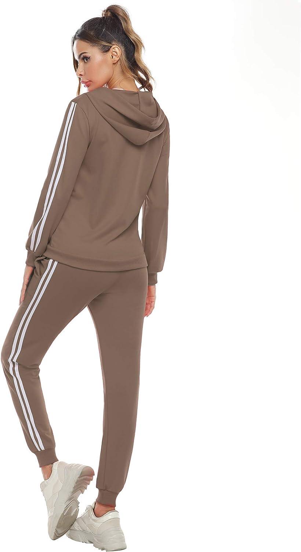 Lange Hose Streetwear Outfit Sport Bekleidungsset Aibrou Traingsanzug Damen Jogginganzug Zweiteiler Set Frauen Sportanzug Freizeitanzug Fitness Zipper Hoodie Sweatshirt
