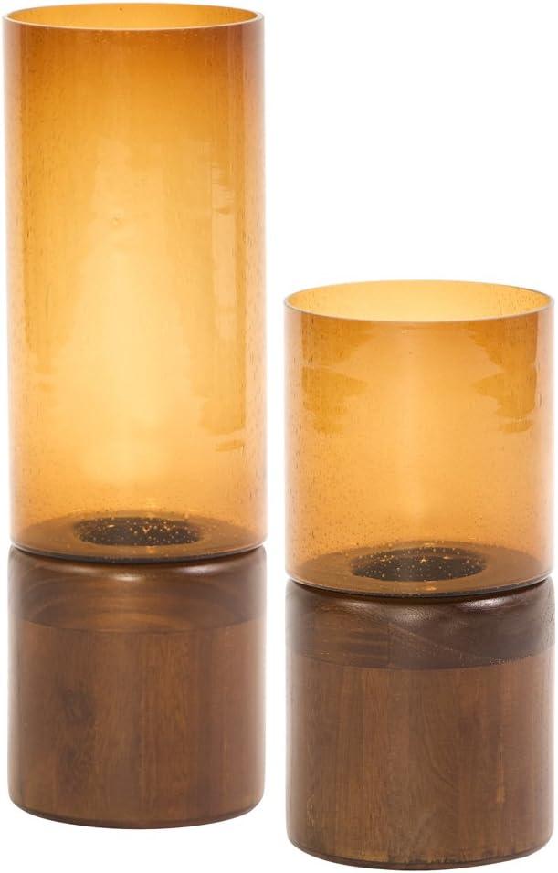 Dark Walnut Wood Base Howard Elliott 86067 Amber Glass Candle Holder Large