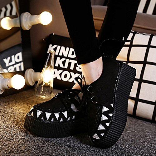 Roseg Moda Mujeres Creepers Punk Rivet Plataforma Zapatos Planos