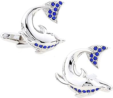 Aeici Gemelos Boda Novio Gemelos Camisa Hombre Delfín Gemelo de Hombre Plata Azul: Amazon.es: Joyería